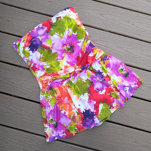 Spiegel Floral Strapless Skirted Bathing Suit